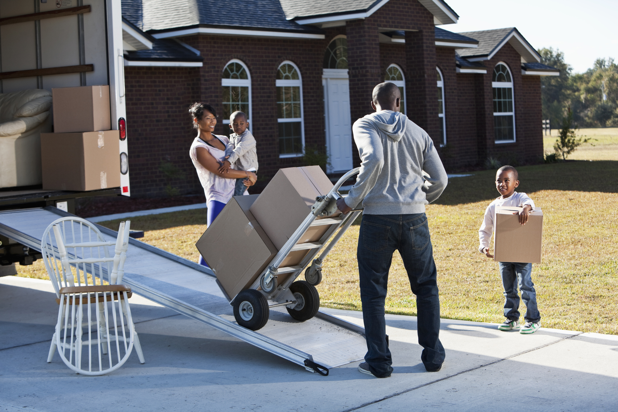 family moving big houses