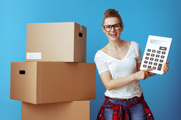 woman calculating moving costs